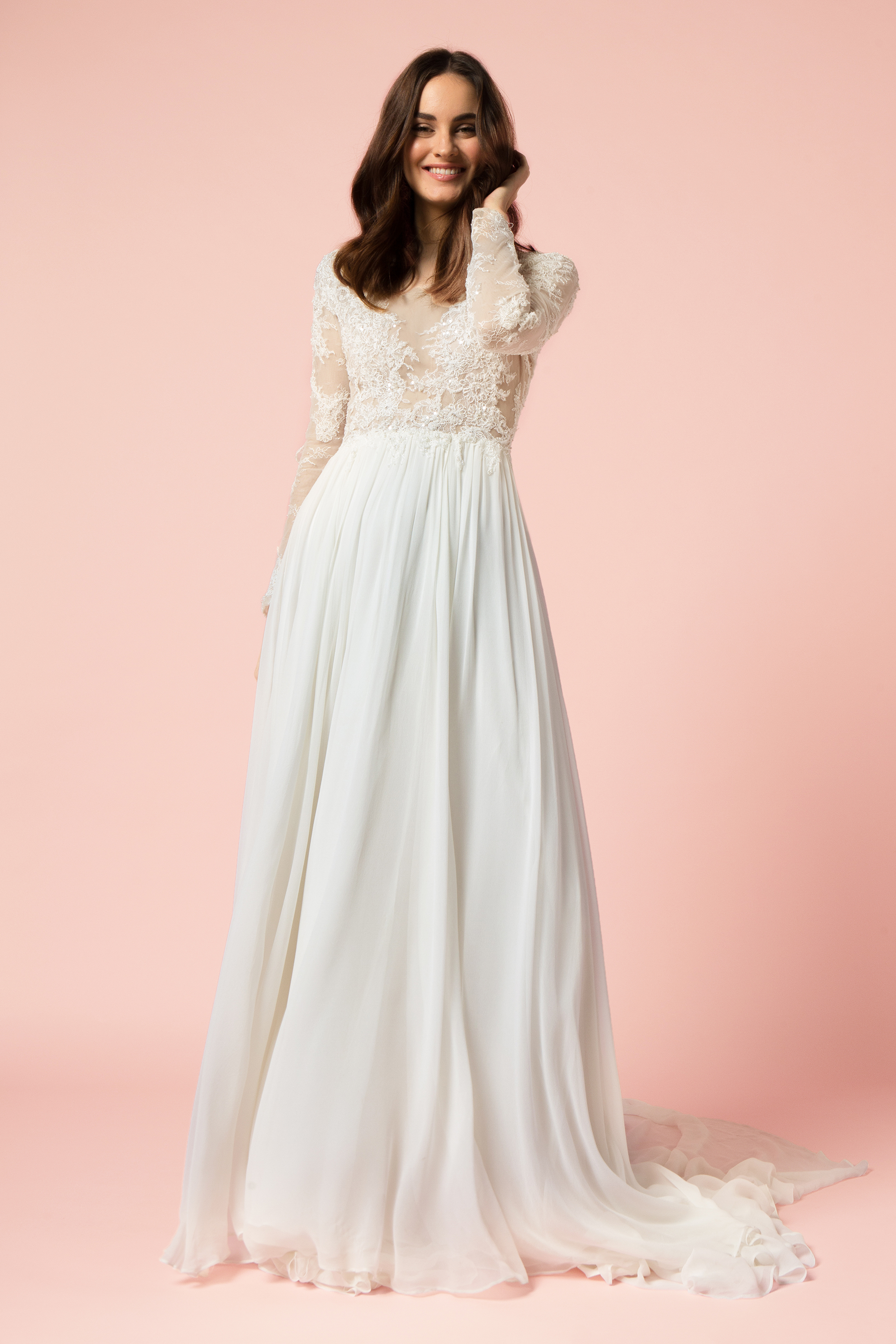 wedding dresses with bell sleeves photo - 1