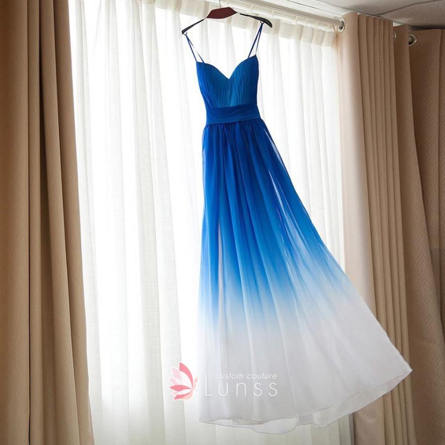 wedding dresses with blue sashes photo - 1