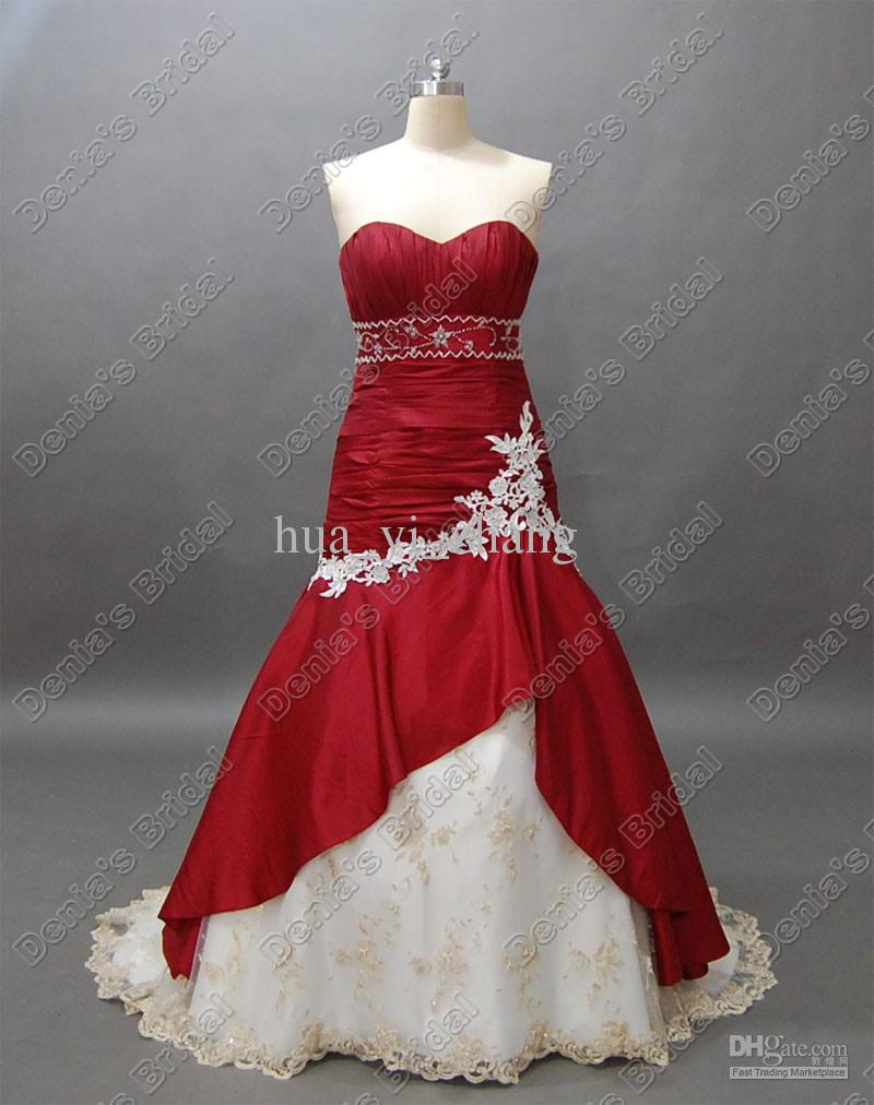 wedding dresses with burgundy accents photo - 1