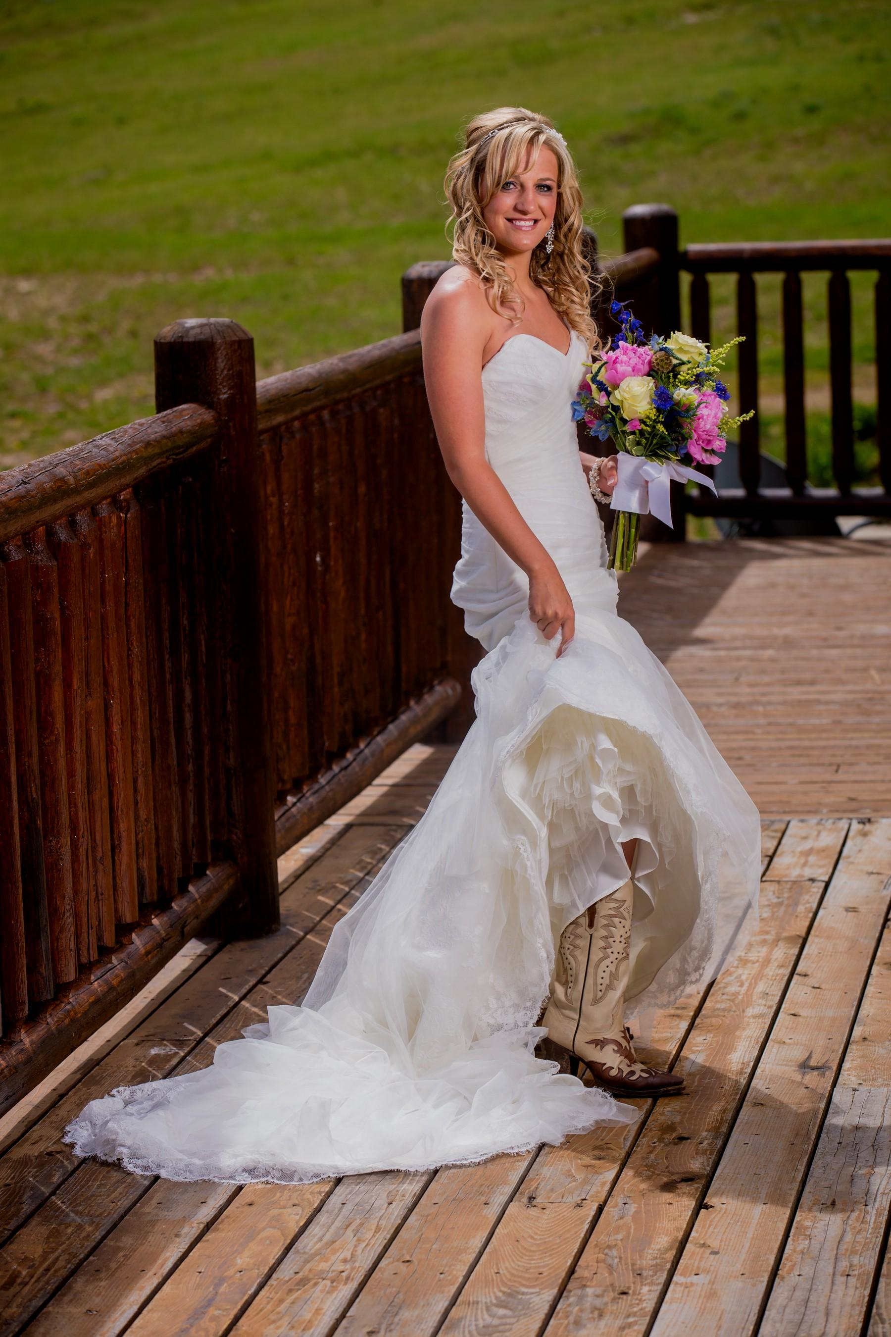 wedding dresses with cowboy boots photo - 1