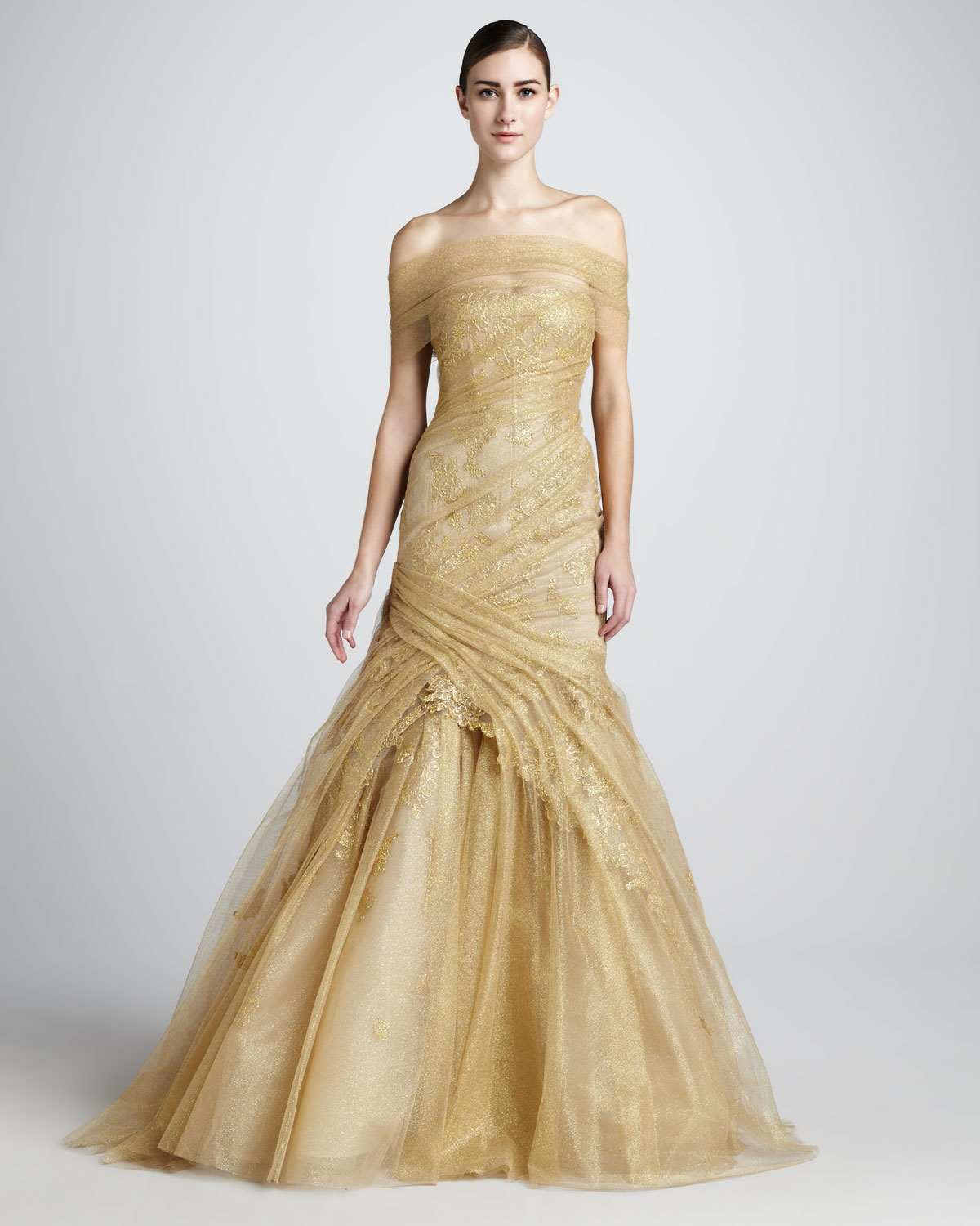 wedding dresses with gold detail photo - 1