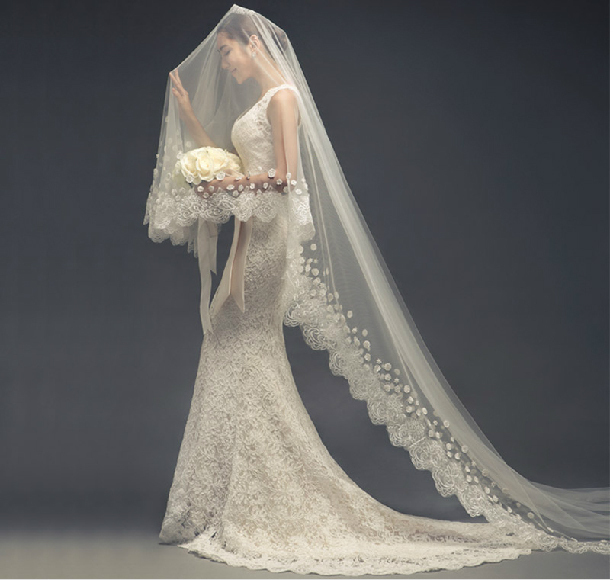 wedding dresses with long trains and veils photo - 1