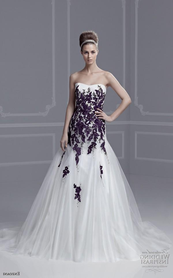 wedding dresses with purple accents photo - 1