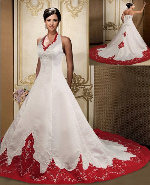 wedding dresses with red accents photo - 1