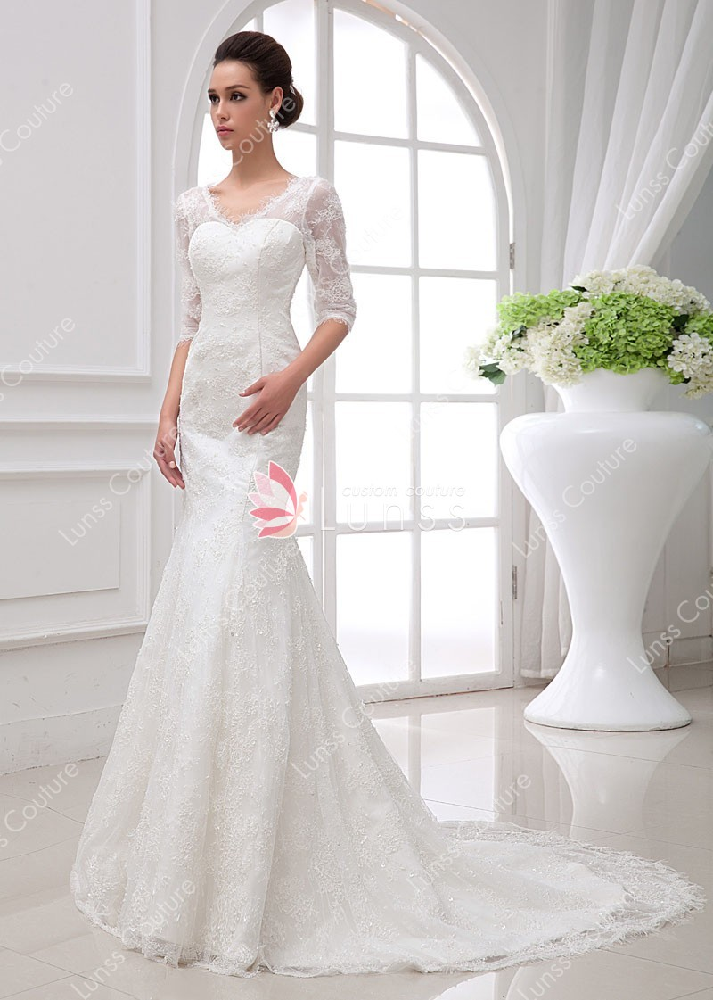 wedding dresses with sheer sleeves photo - 1