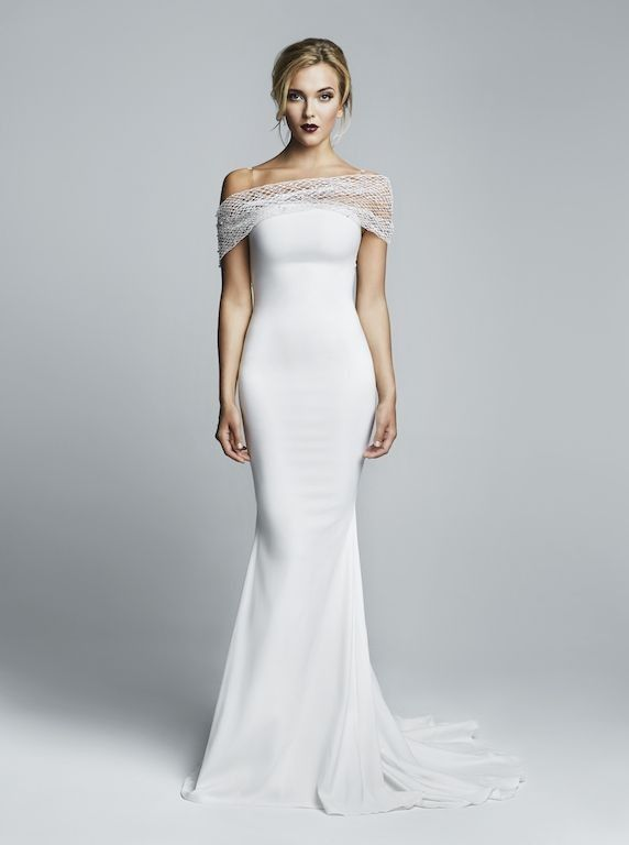 wedding dresses with sleeves off the shoulder photo - 1