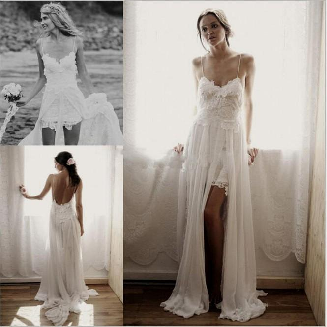 wedding dresses with slit photo - 1