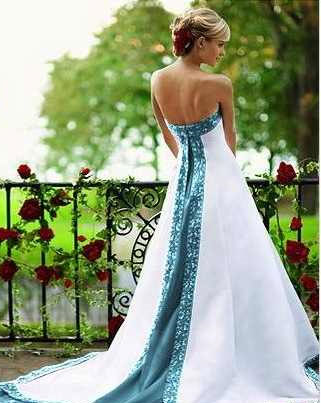 wedding dresses with teal accents photo - 1
