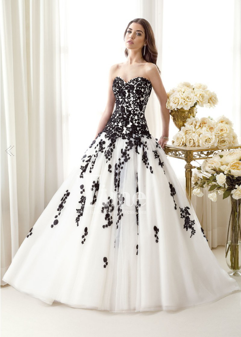 white and black wedding dresses photo - 1