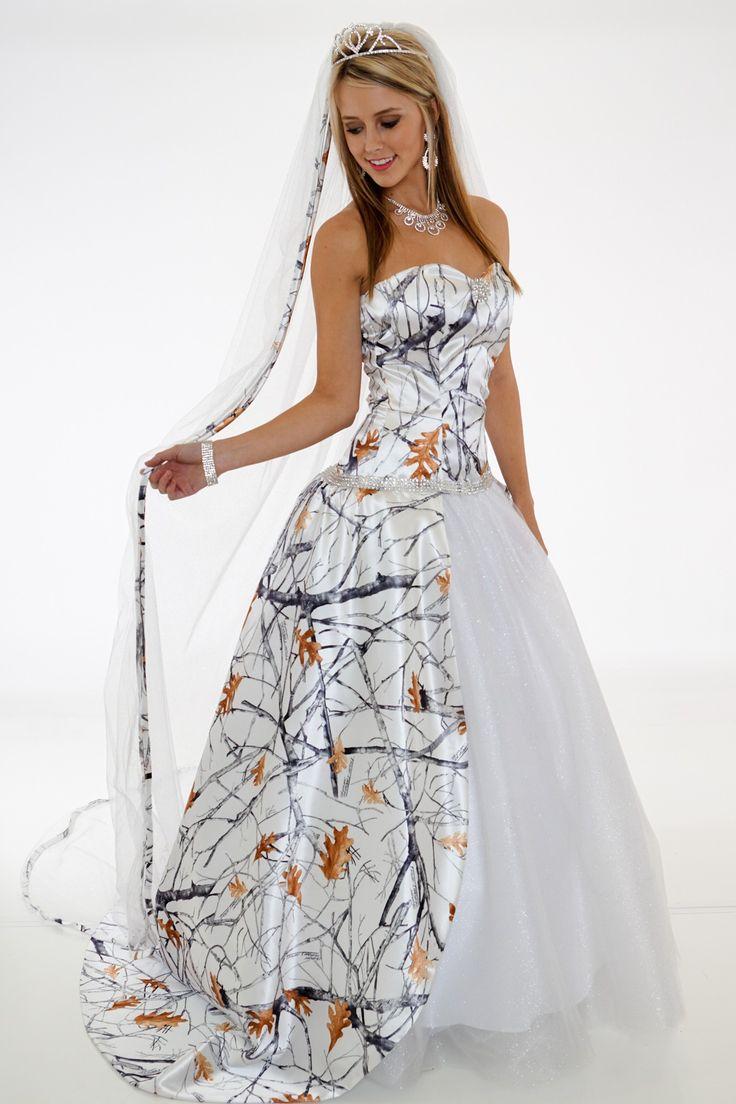 white and camo wedding dresses photo - 1