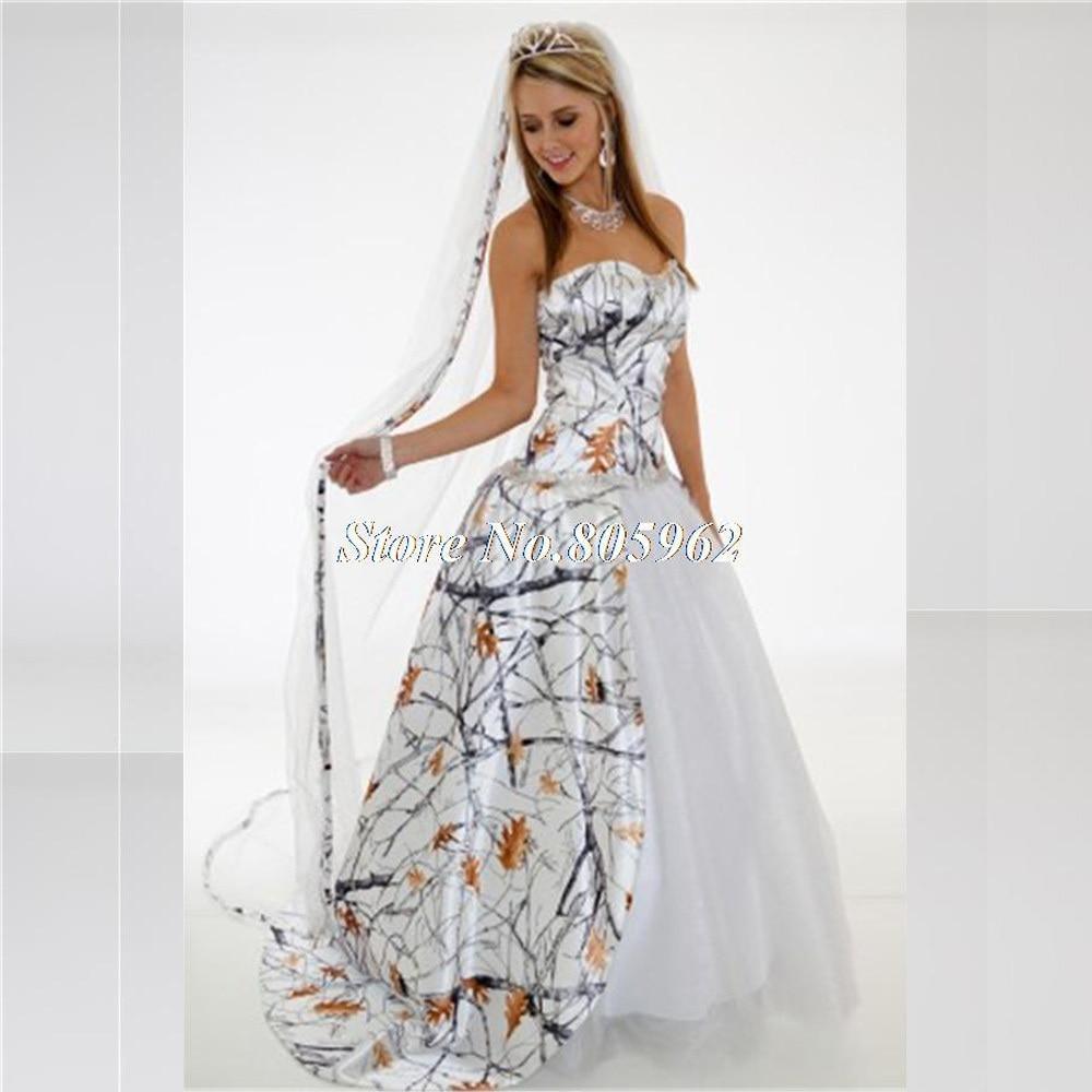white camouflage wedding dresses photo - 1