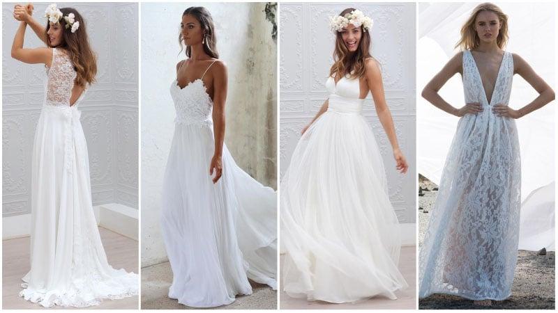 white dresses for beach wedding photo - 1