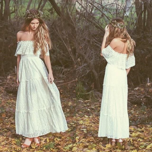 white hippie wedding dresses photo - 1