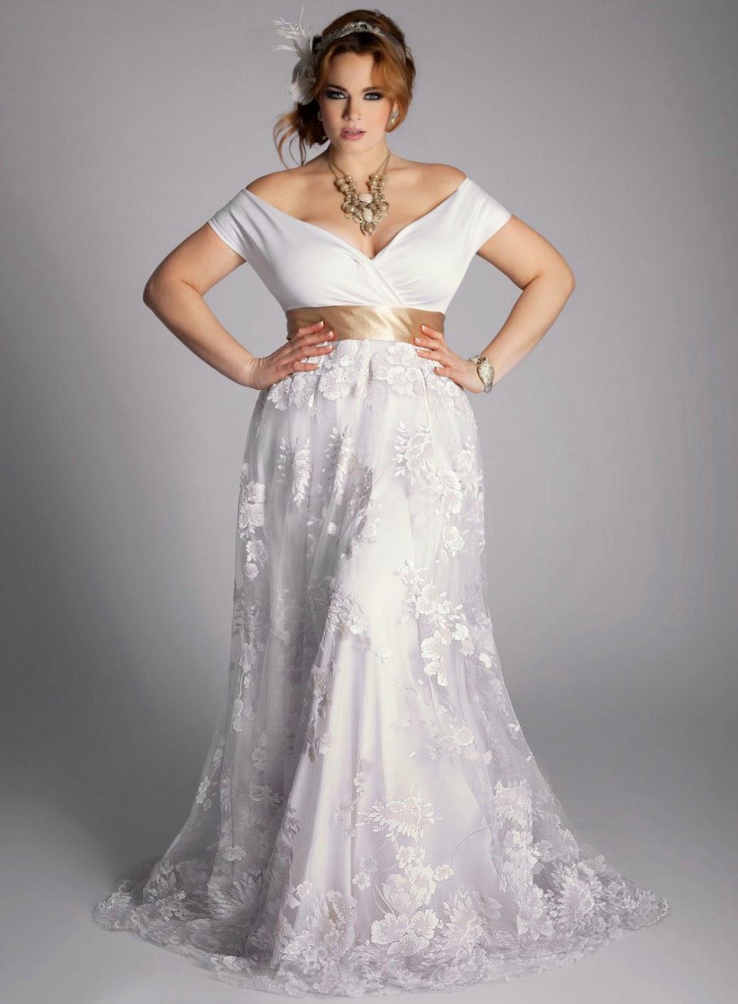 white plus size wedding dresses photo - 1