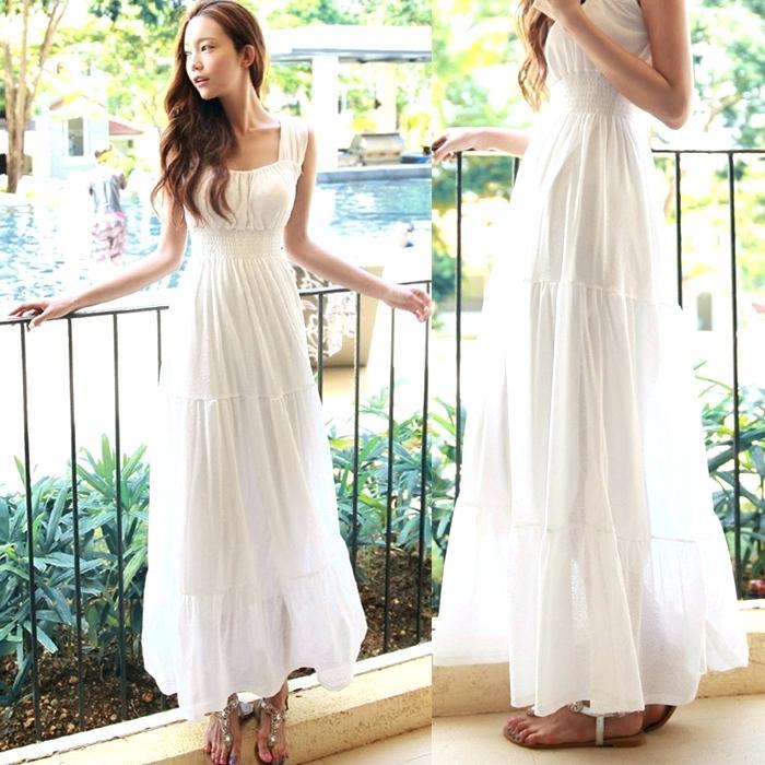 white summer dresses for wedding photo - 1