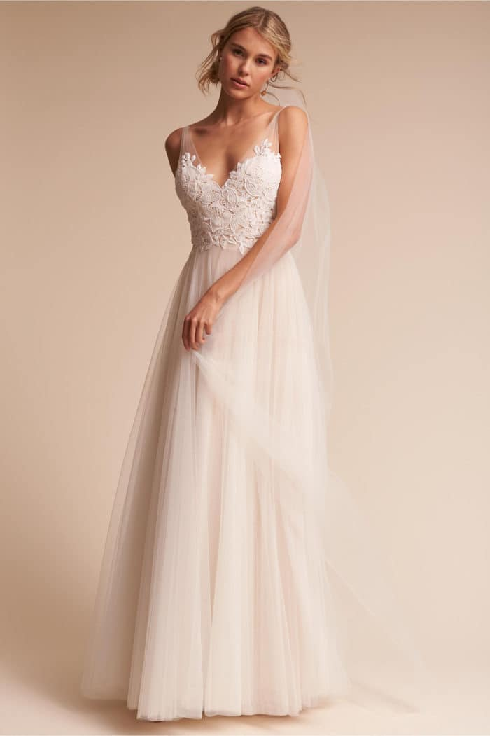 a line wedding dresses with lace sleeves photo - 1