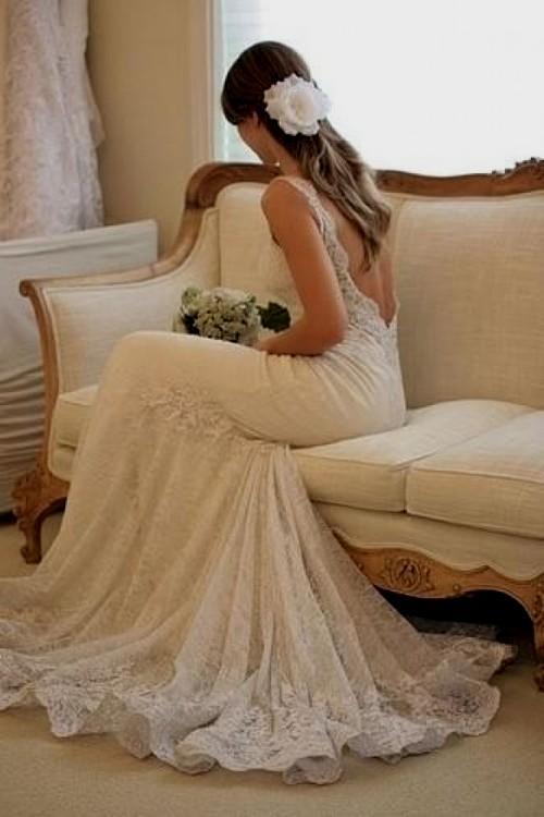 backless lace wedding dresses photo - 1