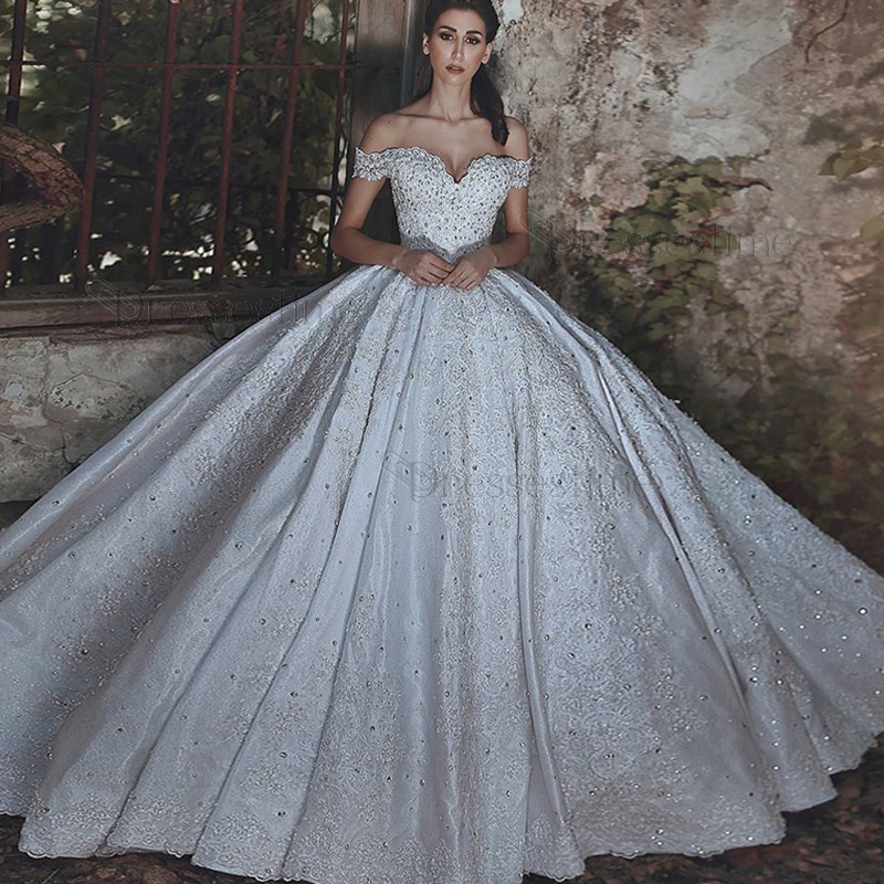 ball gown wedding dresses with train photo - 1