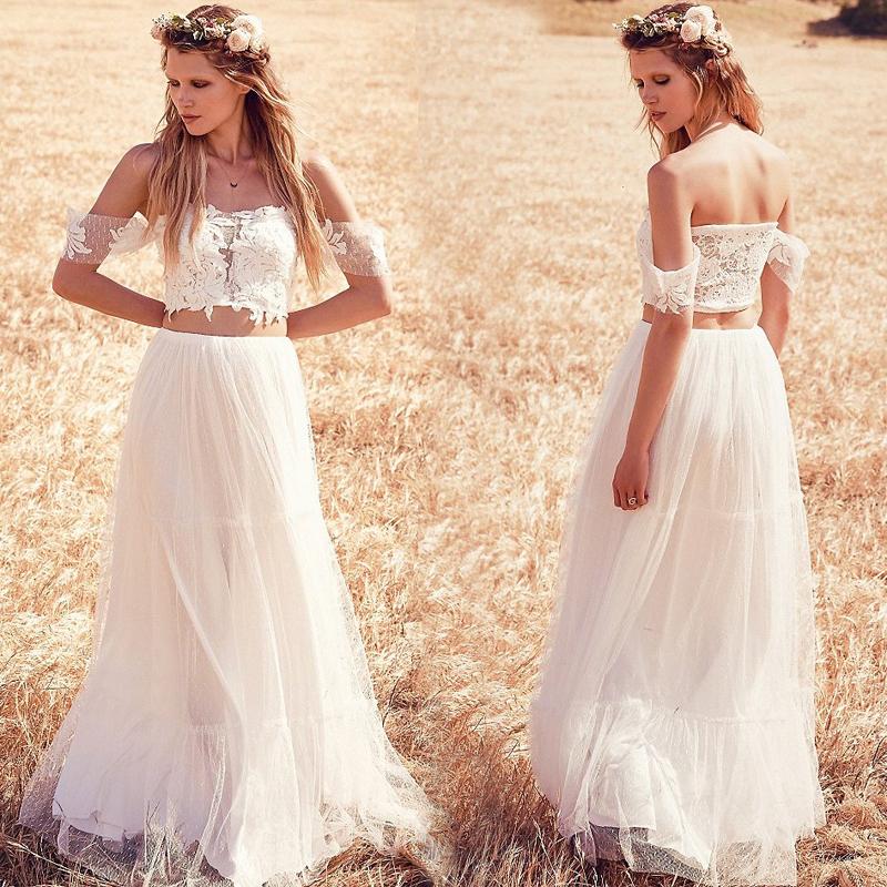 beach bohemian wedding dresses photo - 1