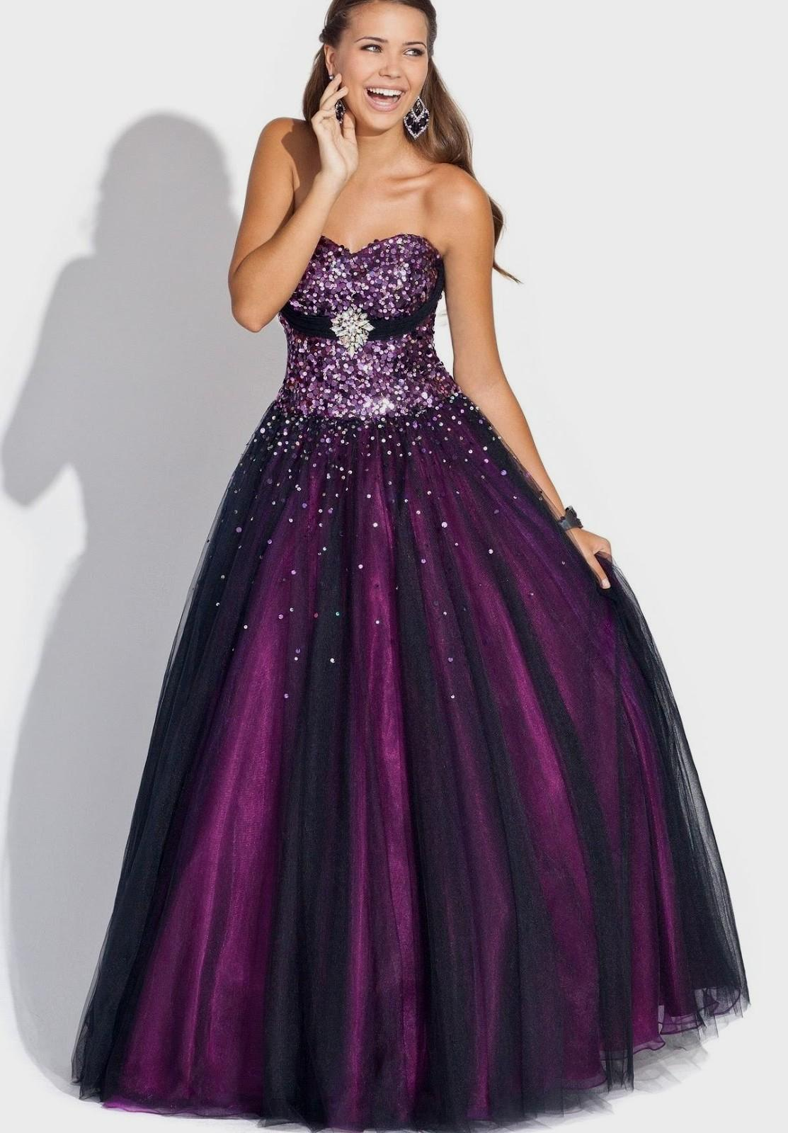 black and purple dresses for wedding photo - 1