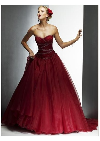 cheap red wedding dresses photo - 1
