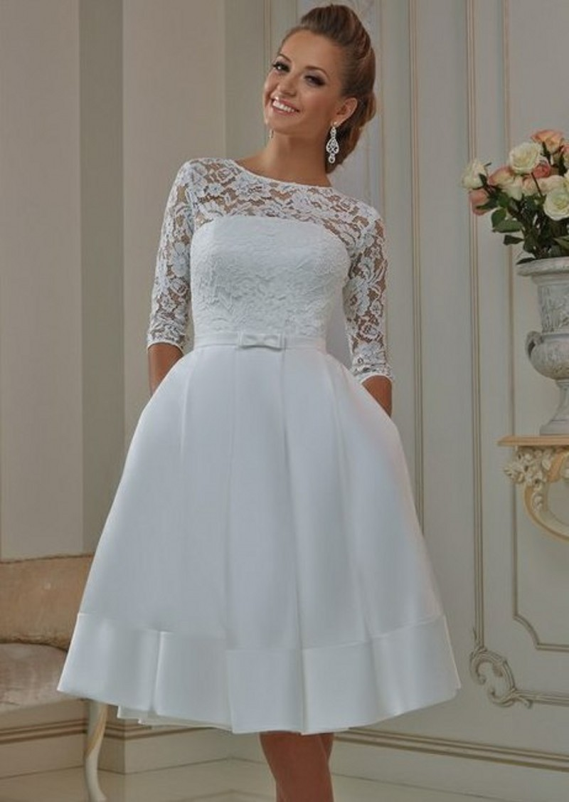 cheap short wedding dresses under 100 photo - 1