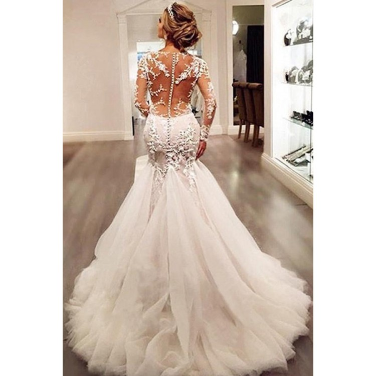 cheap wedding dresses with long trains photo - 1