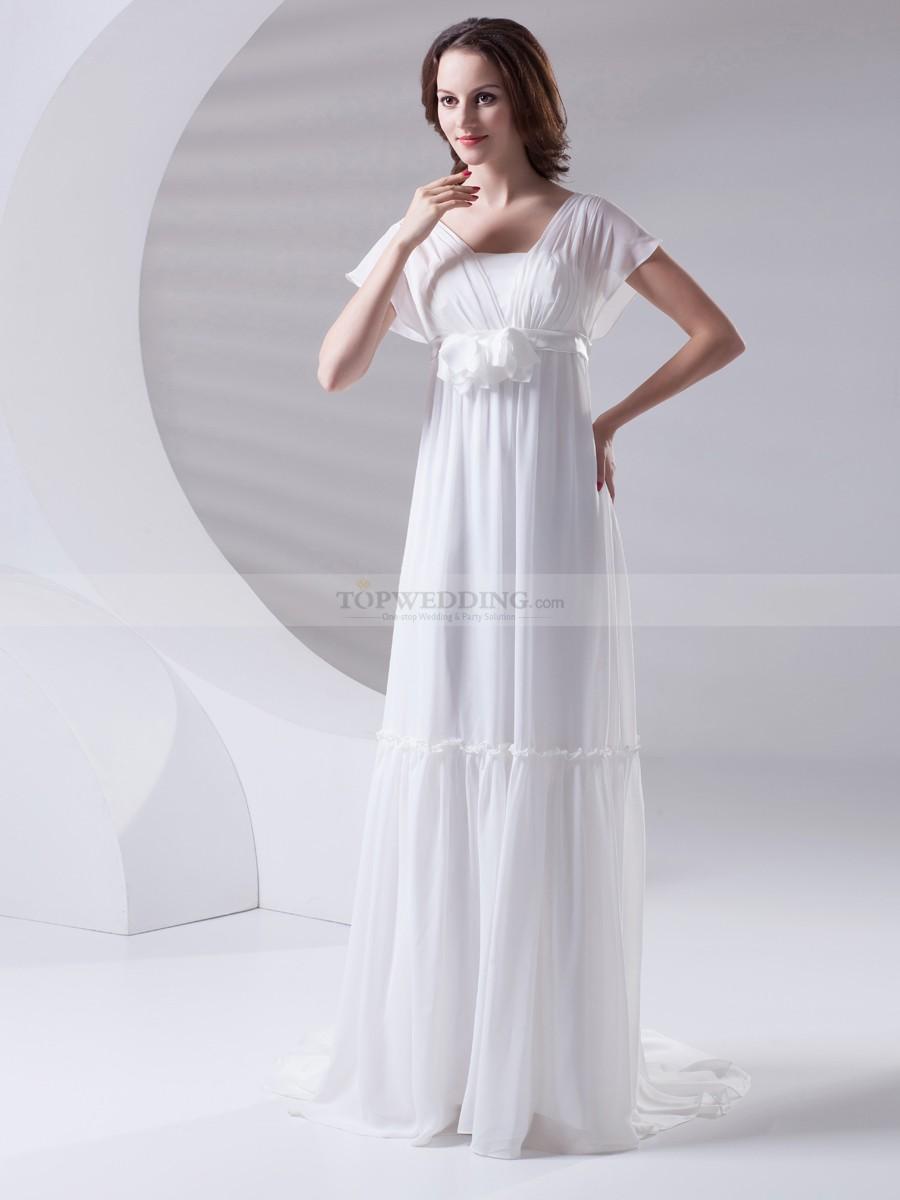 chiffon wedding dresses with sleeves photo - 1
