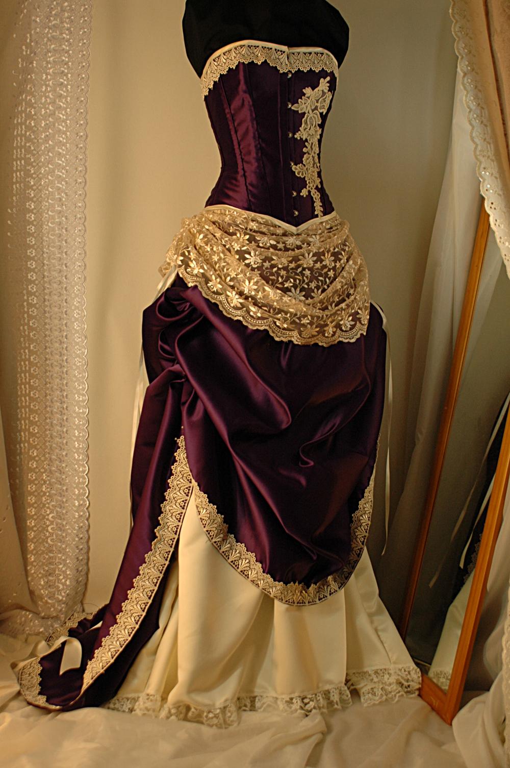 cream and purple wedding dresses photo - 1