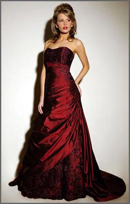 deep red wedding dresses photo - 1