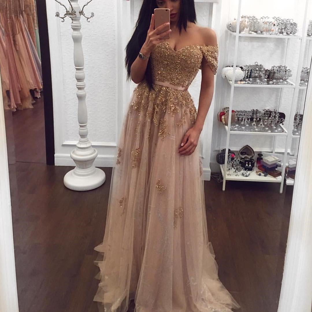 evening dresses champagne color photo - 1