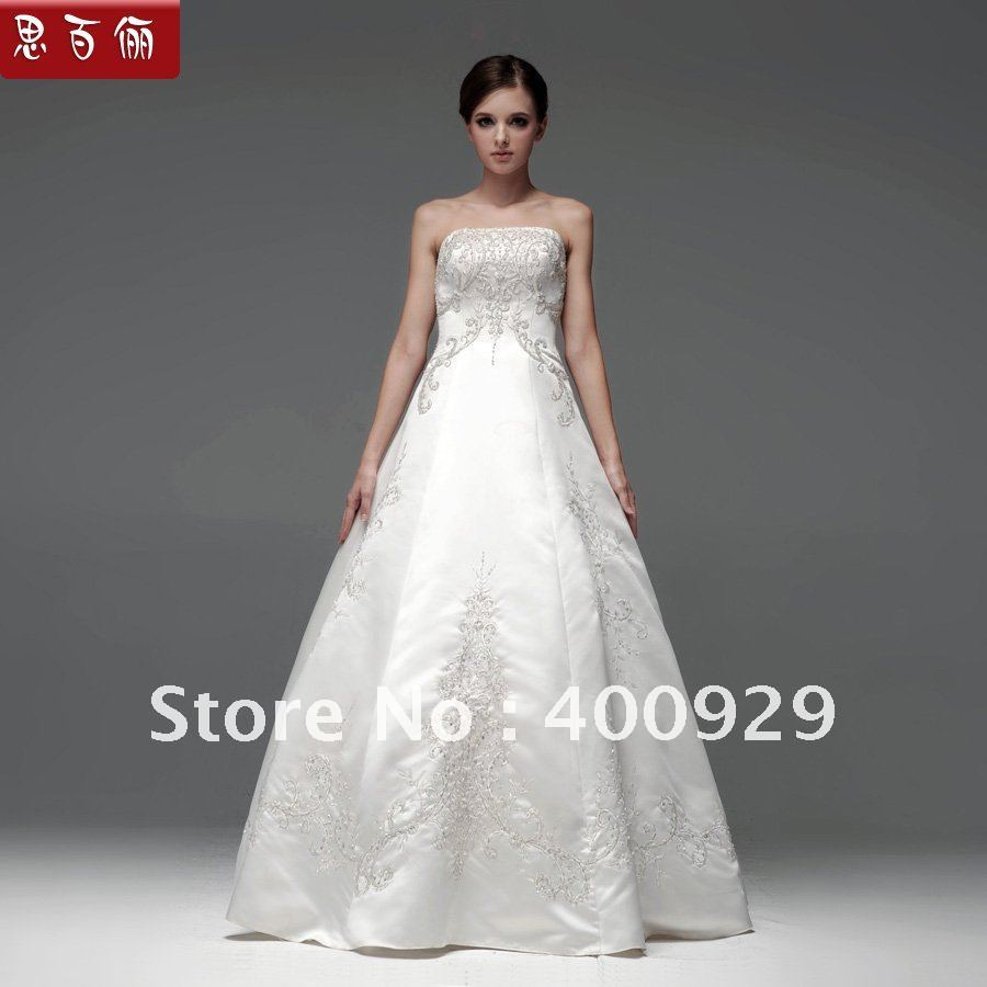 floor length wedding dresses no train photo - 1