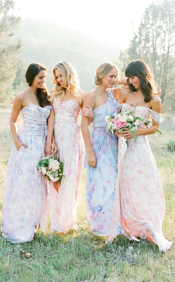 floral wedding dresses with color photo - 1