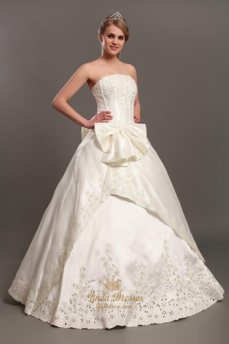 ivory satin wedding dresses photo - 1