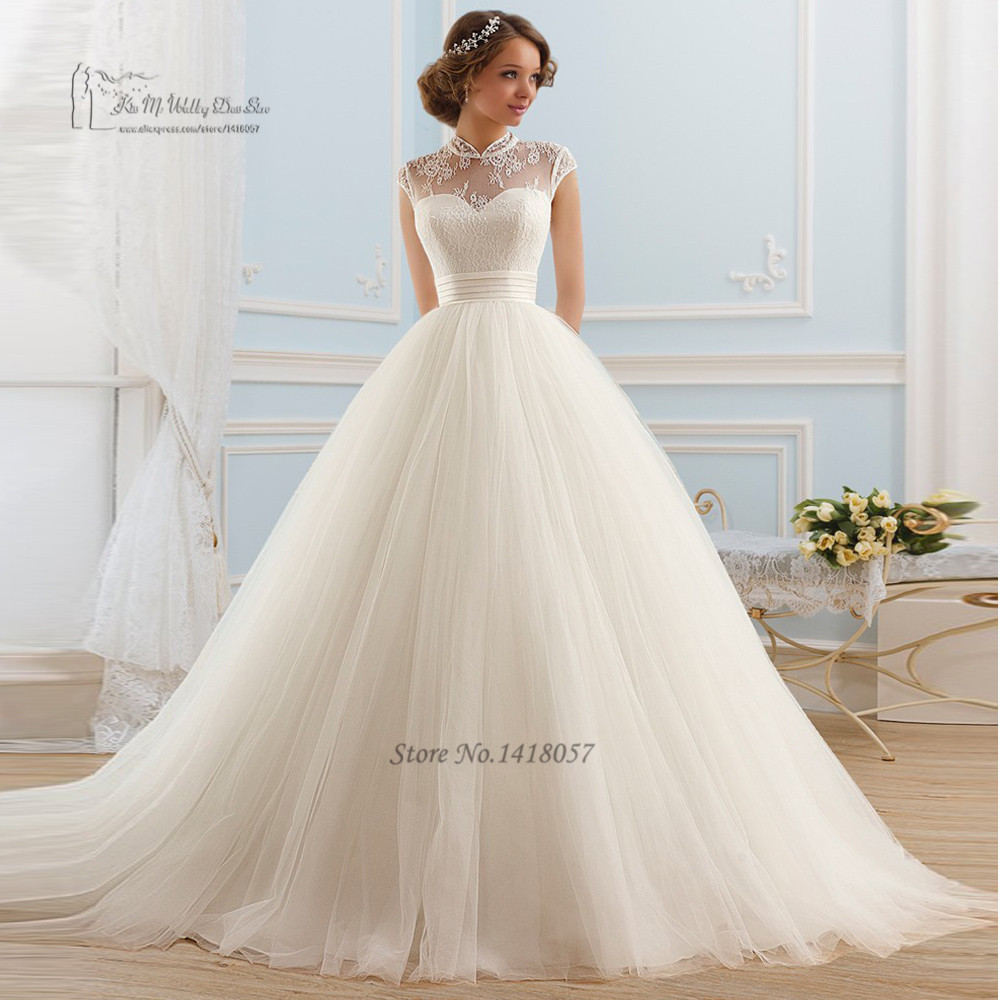 lace ball gown wedding dresses with sleeves photo - 1