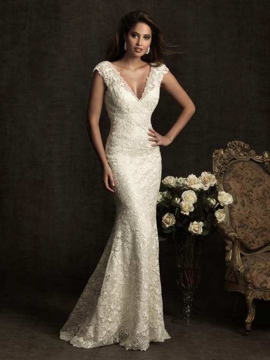 lace v neck wedding dresses photo - 1