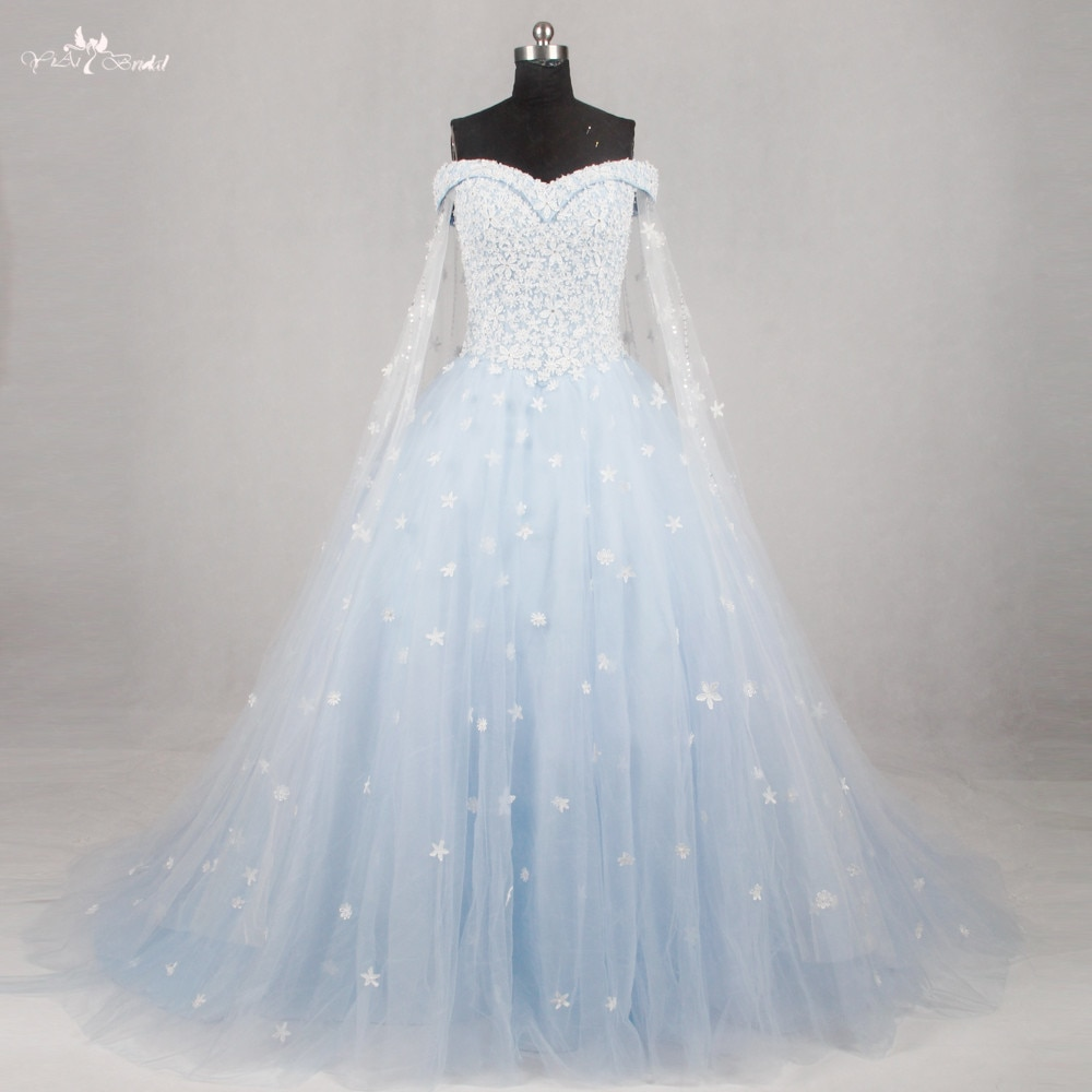 light blue and white wedding dresses photo - 1