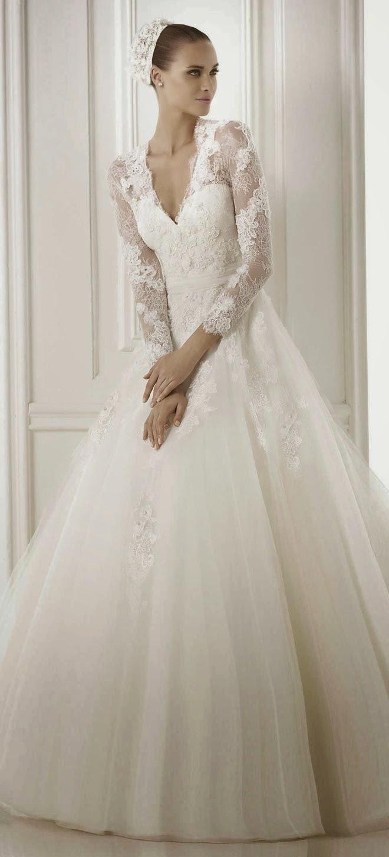 long sleeve winter wedding dresses photo - 1