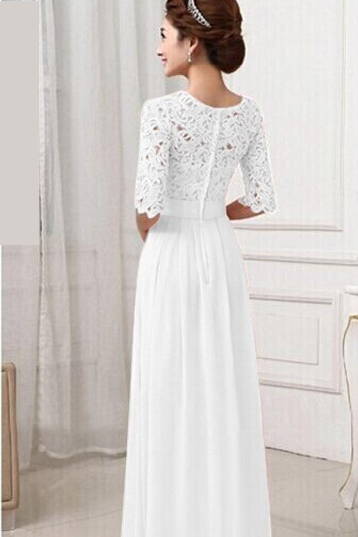 long white lace wedding dresses photo - 1