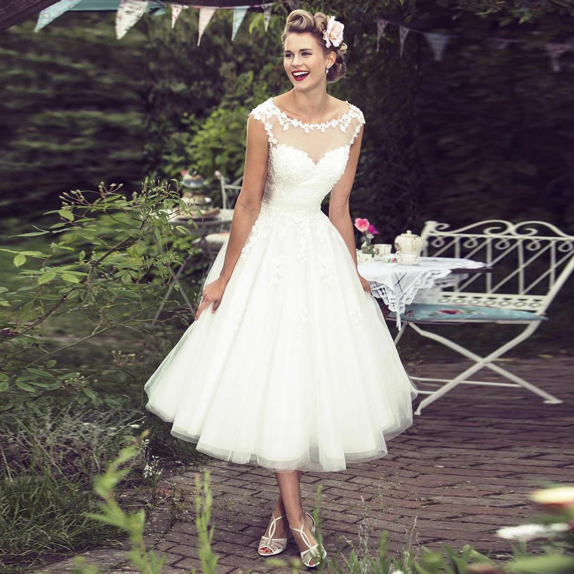mid calf wedding dresses photo - 1