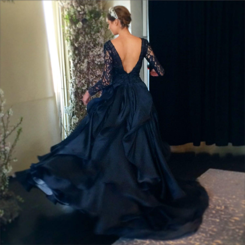 navy blue dresses for wedding photo - 1