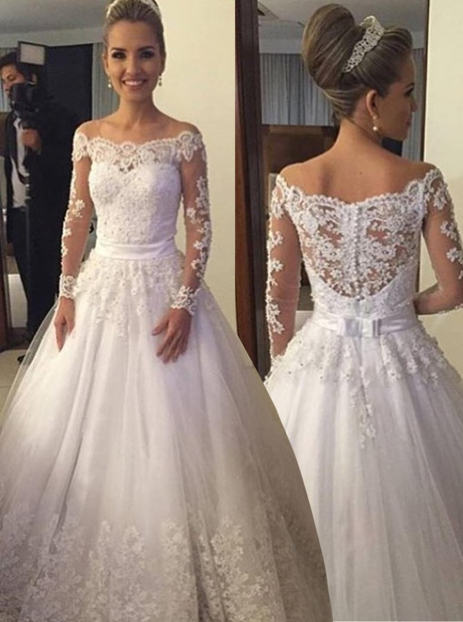 off the shoulder wedding dresses with lace sleeves photo - 1