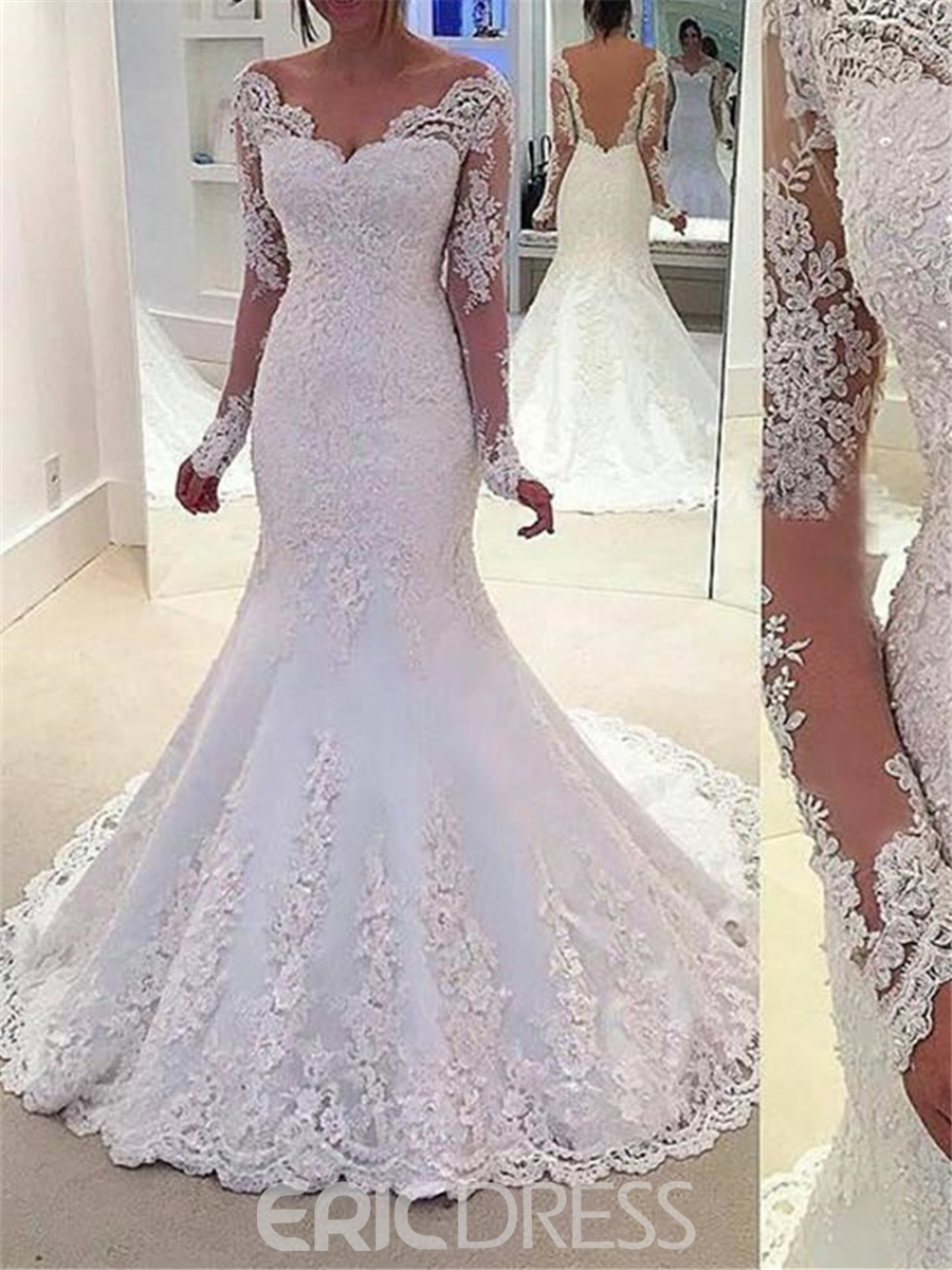 plus size lace mermaid wedding dresses photo - 1