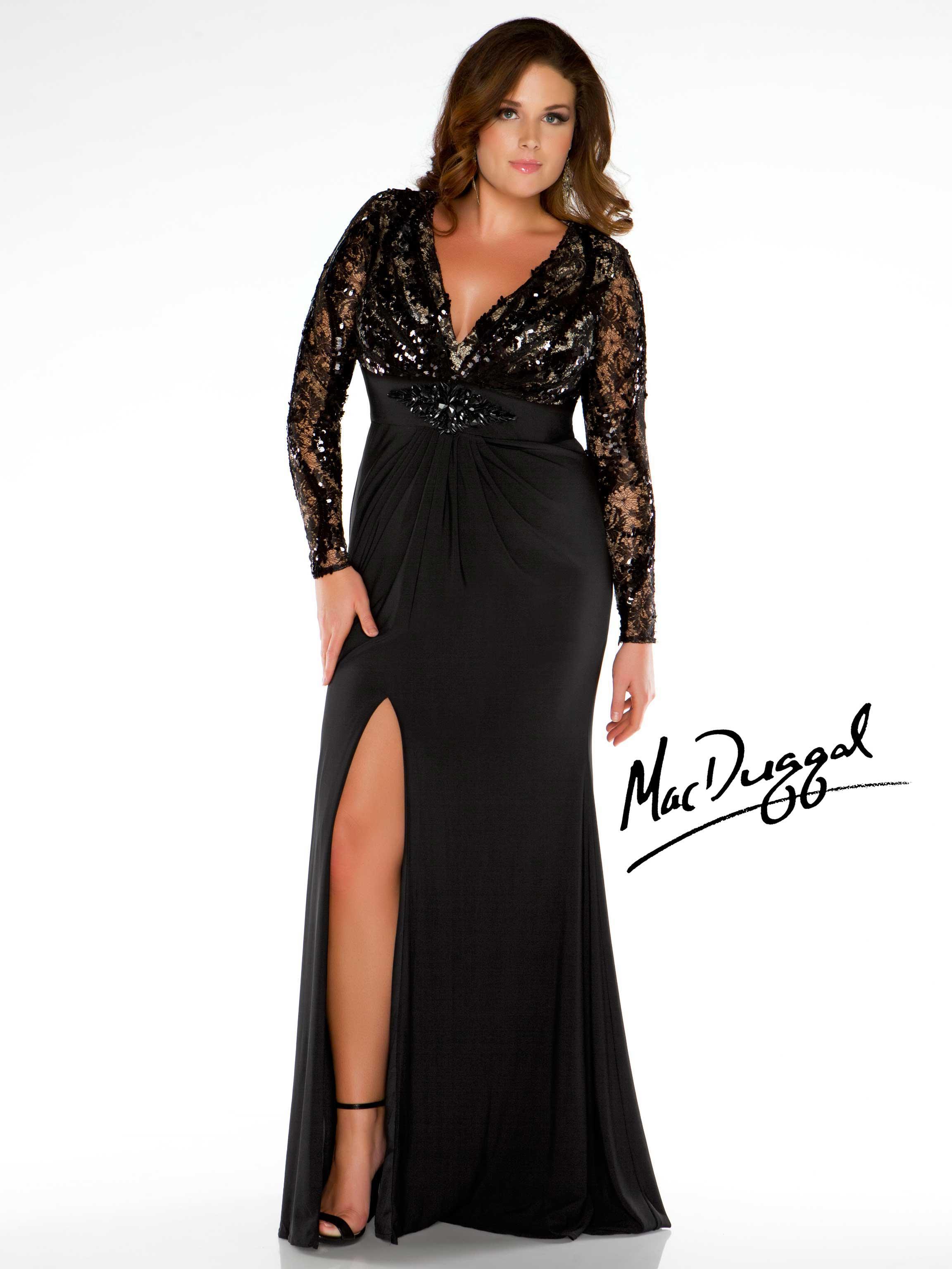 plus size long sleeve evening dresses photo - 1