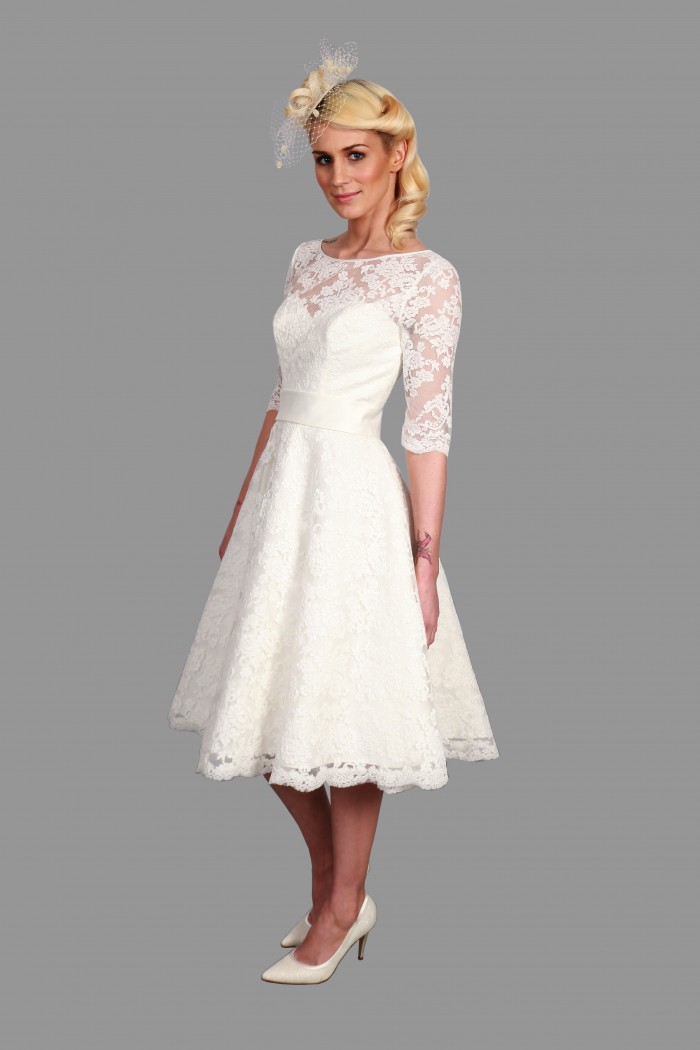 Plus size wedding dresses with sleeves tea length ...