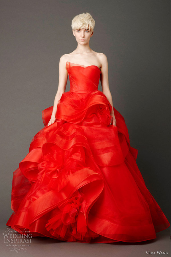 red wedding dresses vera wang photo - 1