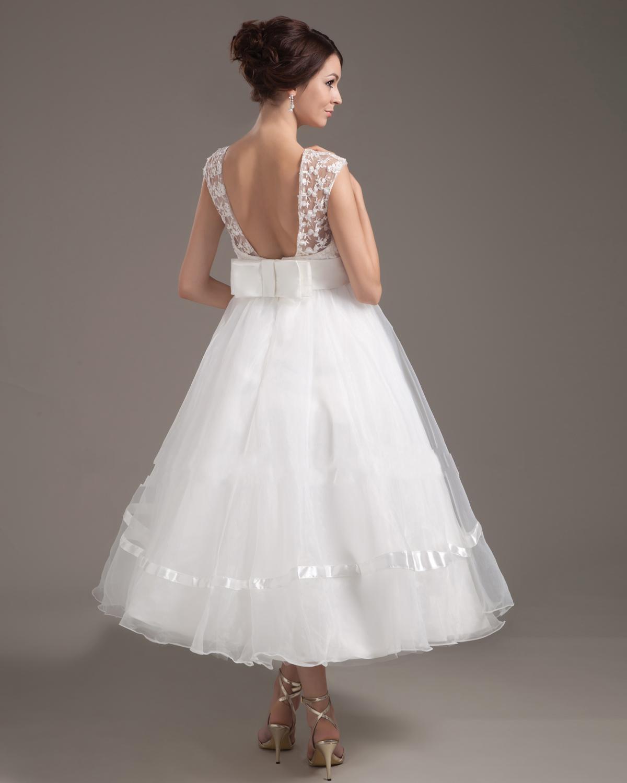 retro tea length wedding dresses photo - 1