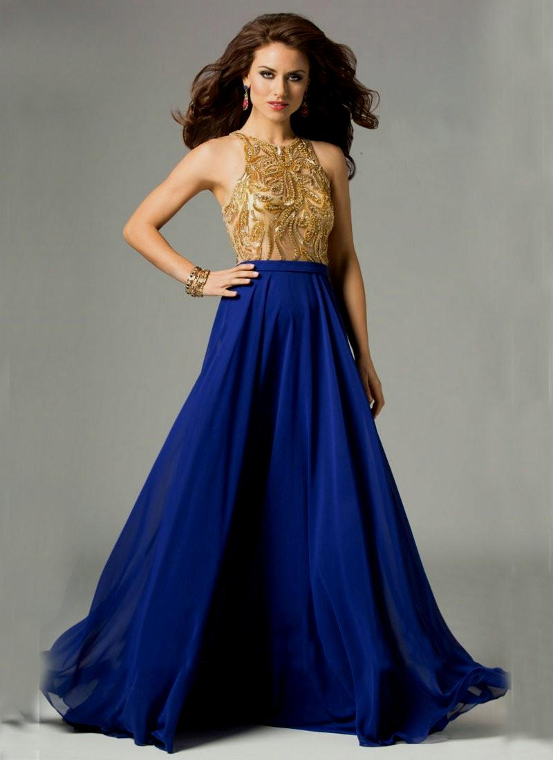 royal blue and gold wedding dresses photo - 1