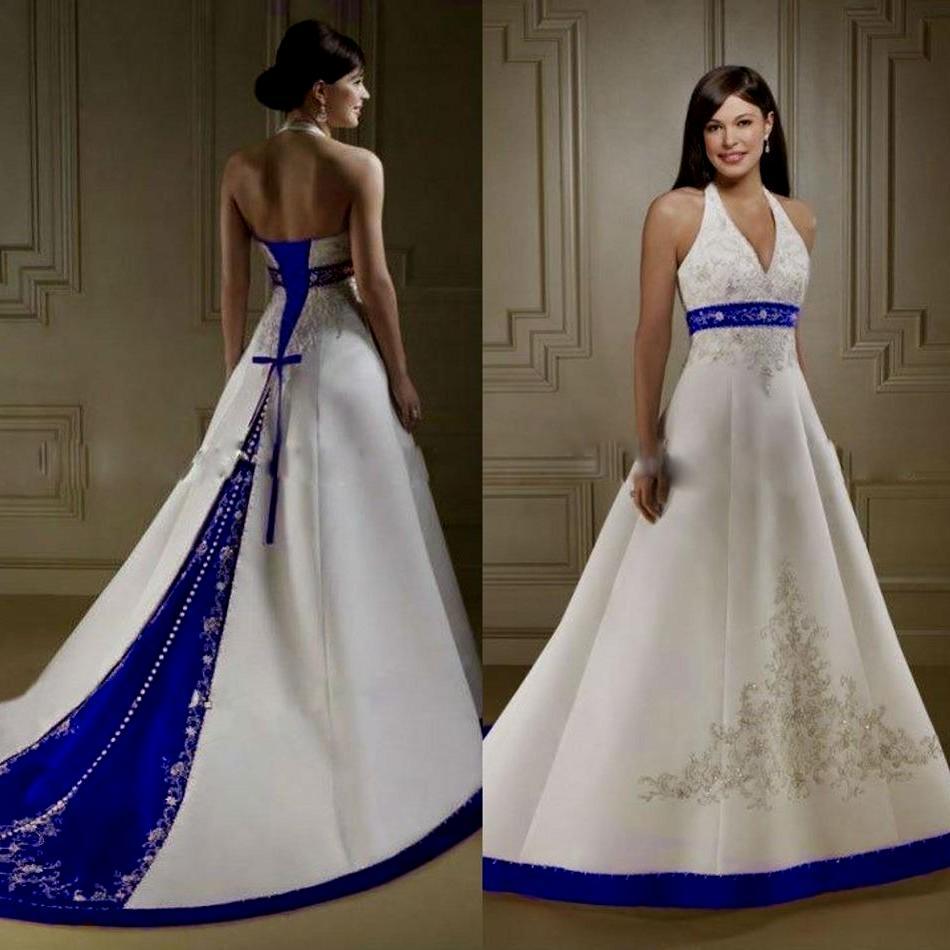 royal blue and white wedding dresses photo - 1