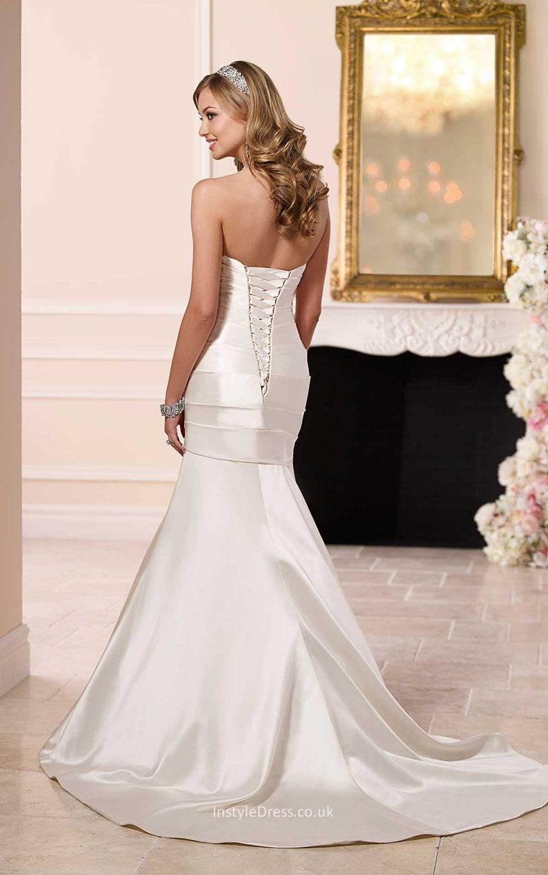 satin fit and flare wedding dresses photo - 1